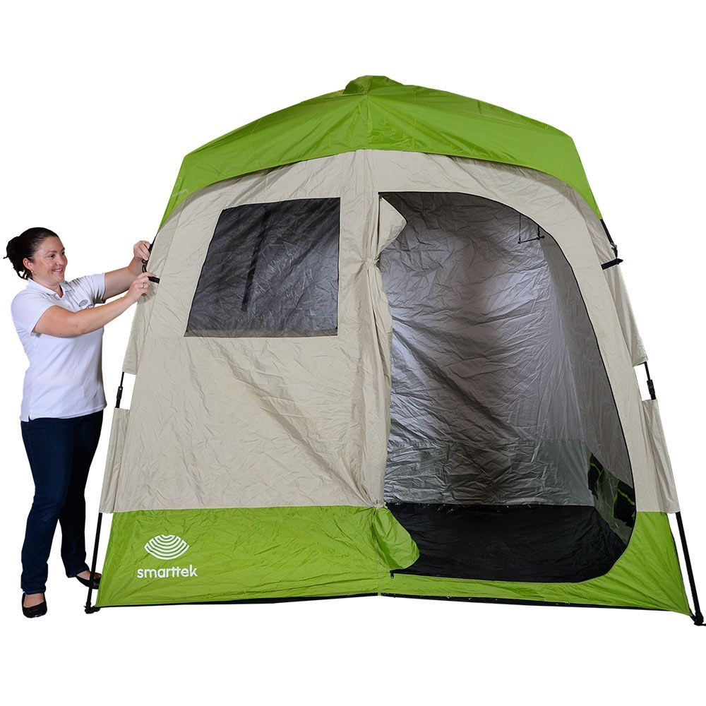 Smarttek Double Ensuite Shower Tent - Last step of setting up tent