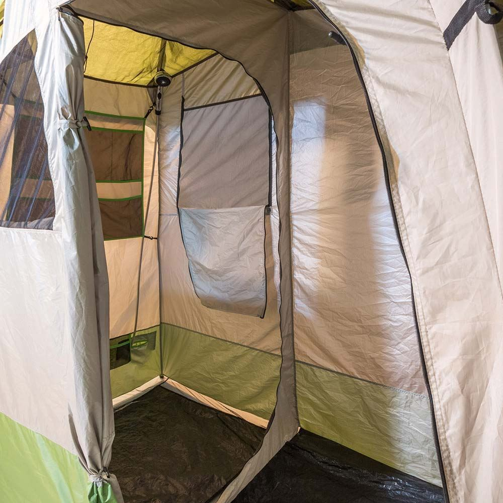 Smarttek Double Ensuite Shower Tent - Inside view of tent with shower hose & rose up high in the corner