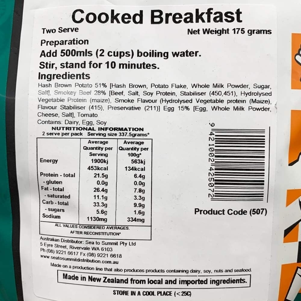 Back Country Cooked Breakfast - Double serve nutritional information