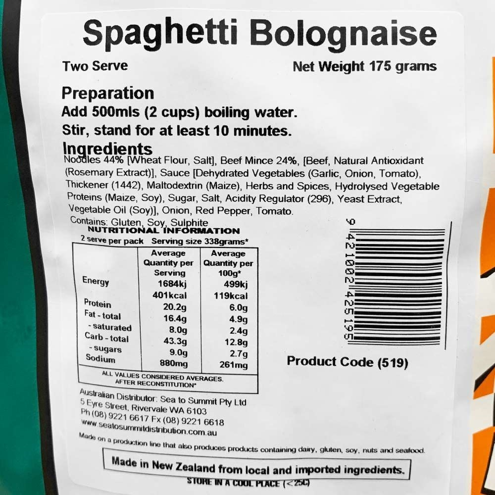 Back Country Cuisine Spaghetti Bolognaise - Double serve nutritional information