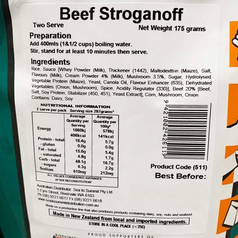 Back Country Cuisine Beef Stroganoff - Double serve nutritional information