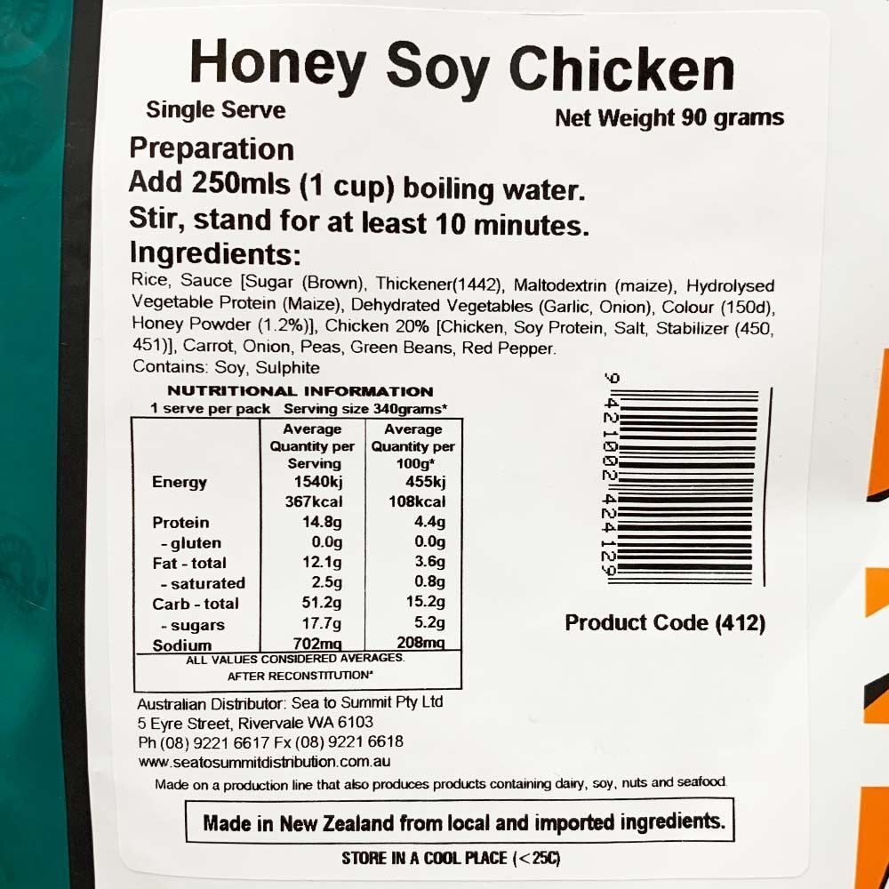 Back Country Cuisine Honey Soy Chicken GF - Single serve nutritional information