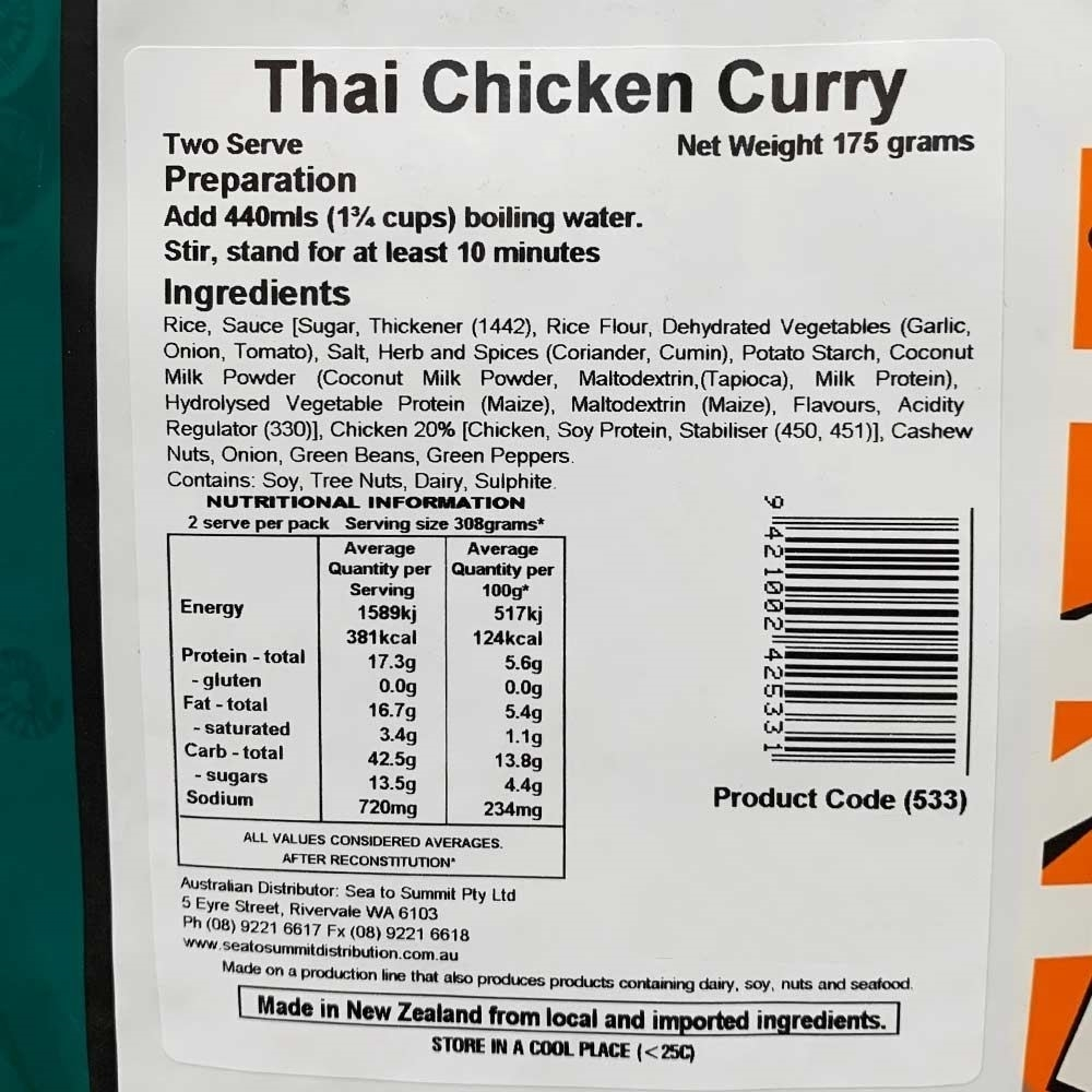 Back Country Cuisine Thai Chicken Curry GF Double - Nutritional Information
