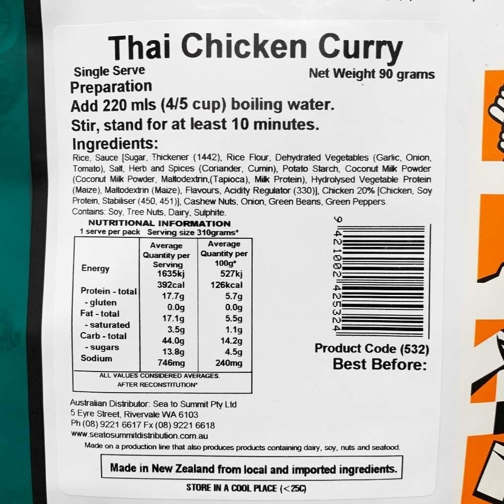 Back Country Cuisine Thai Chicken Curry GF Single - Nutritional Information