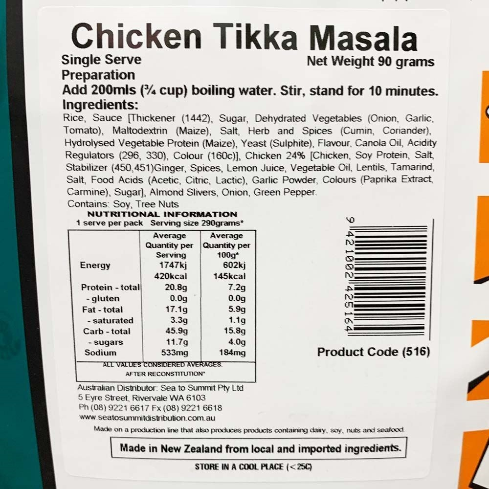Back Country Cuisine Chicken Tikka Masala - Single serve nutritional information