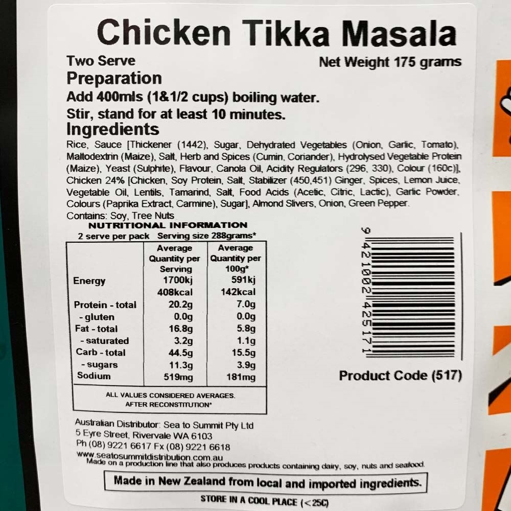 Back Country Cuisine Chicken Tikka Masala - Double serve nutritional information