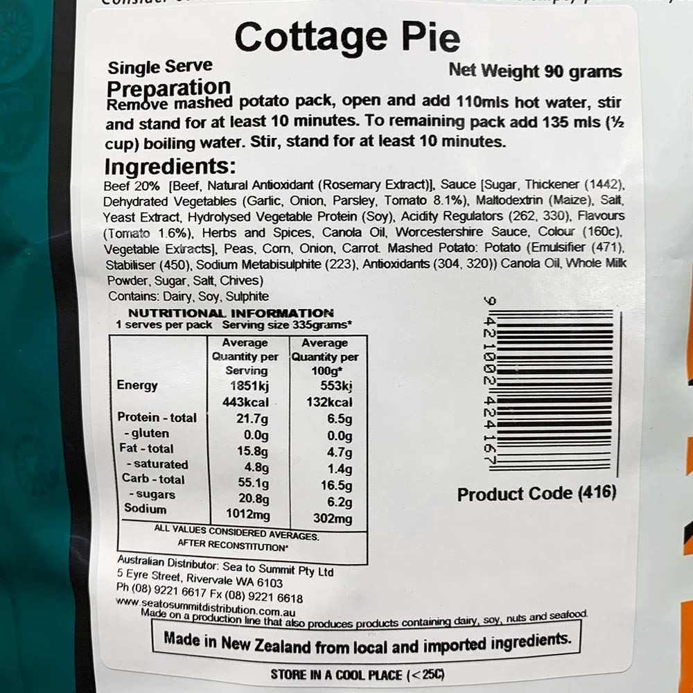 Back Country Cuisine Cottage Pie - Single serve nutritional information