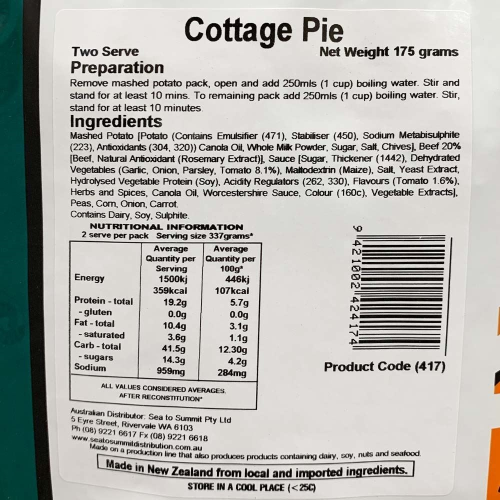 Back Country Cuisine Cottage Pie - Double serve nutritional information