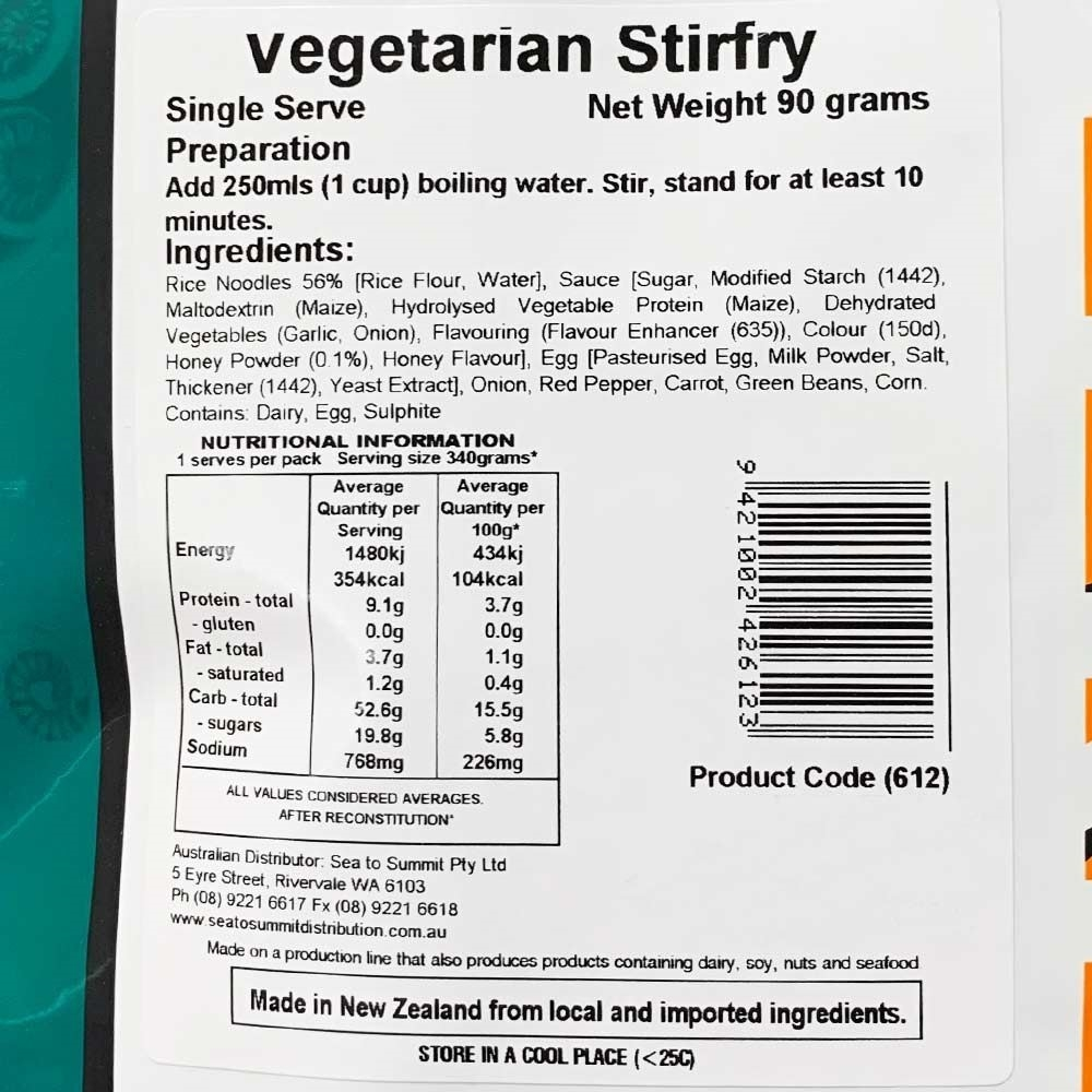 Back Country Cuisine Vegetarian Stirfry - Single serve nutritional information