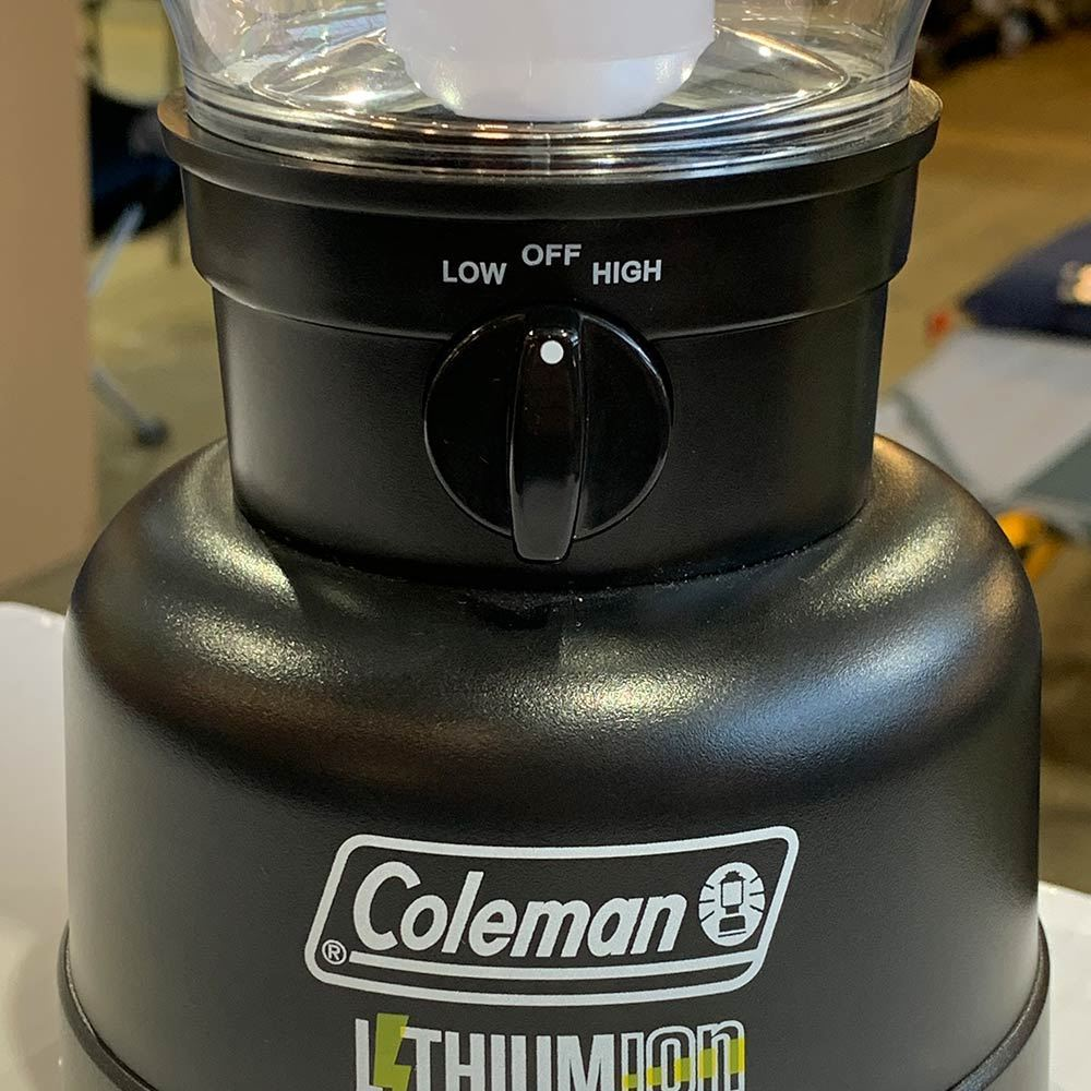 Coleman Lithium Ion LED Rugged Lantern - Close up of dial