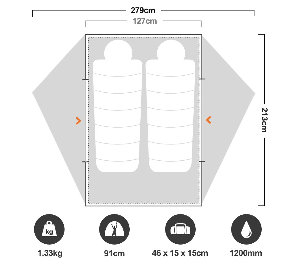 FreeLite™ 2 Ultralight Tent - Floorplan