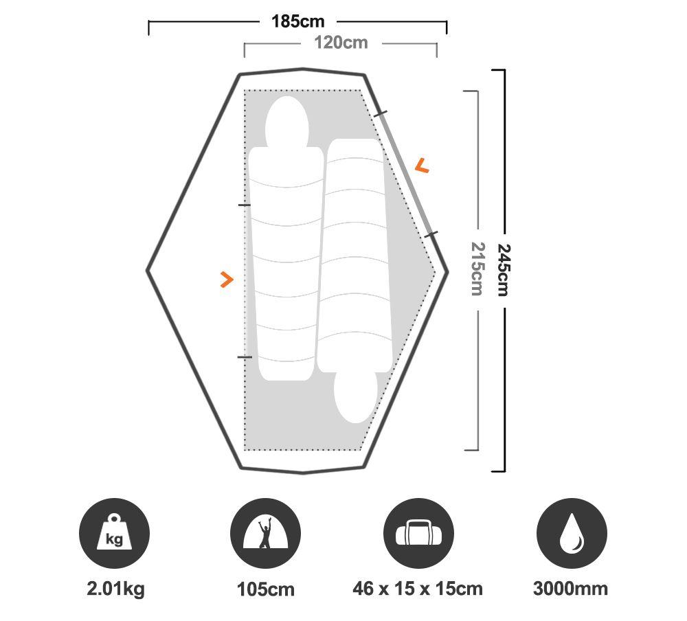 Nevis 200 2P Hiking Tent - Floorplan