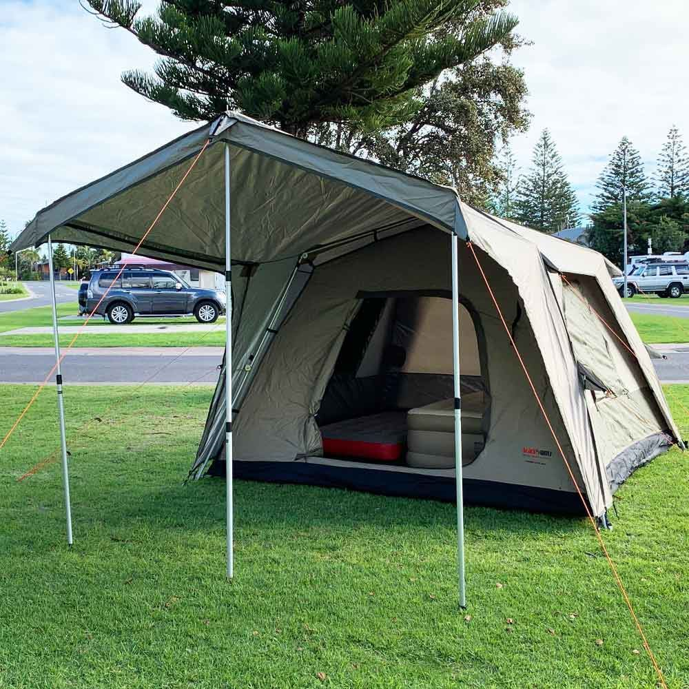 Black Wolf Turbo Lite 300 Touring Tent - Coleman Quickbed Airbed XL Single Mat & Coleman Queen Double-High Quickbed Airbed inside