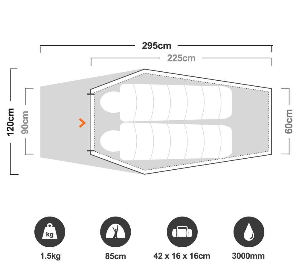 Starlight Hiking Tent - Floorplan