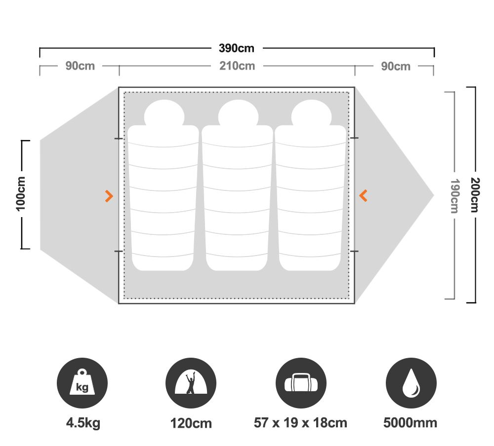 Trilogy Hiking Tent - Floorplan
