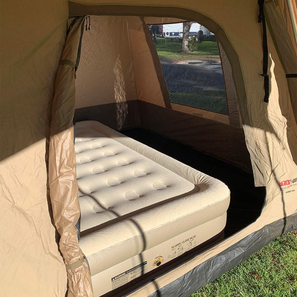 Black Wolf Turbo 240 Canvas Touring Tent - Coleman Queen Double-High Quickbed Airbed inside
