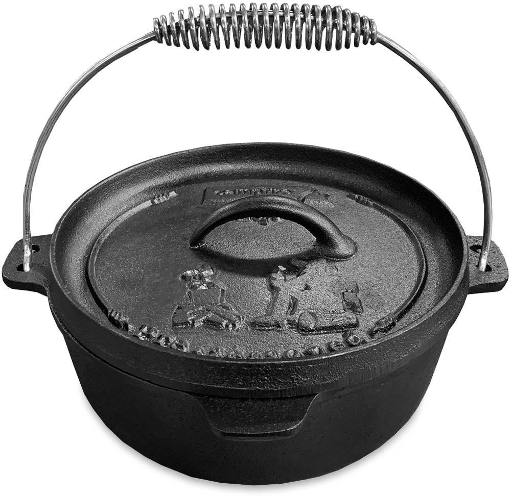 Campfire Cast Iron Camp Oven 2 Quart - Lid handle upright