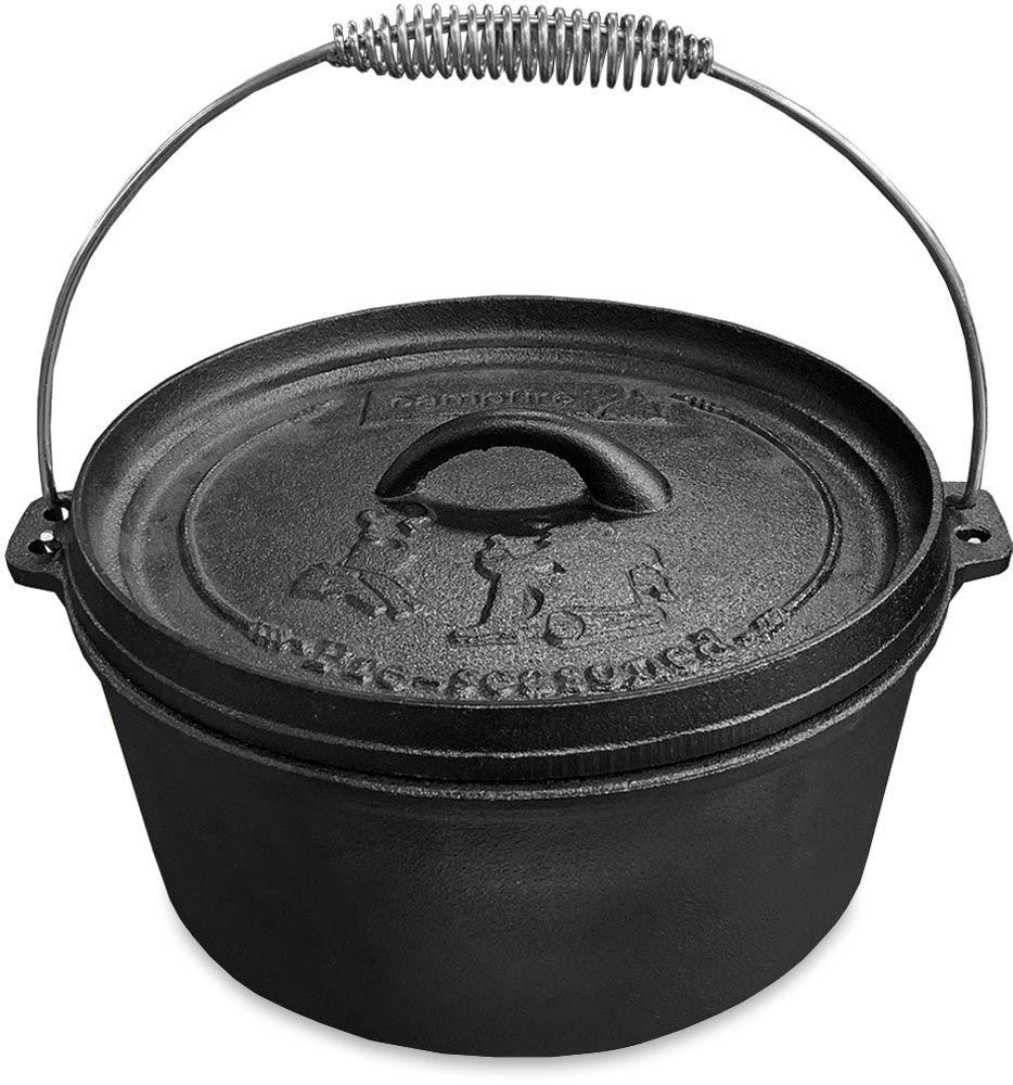 Campfire Cast Iron Camp Oven 4.5 Quart - Lid lifter raised