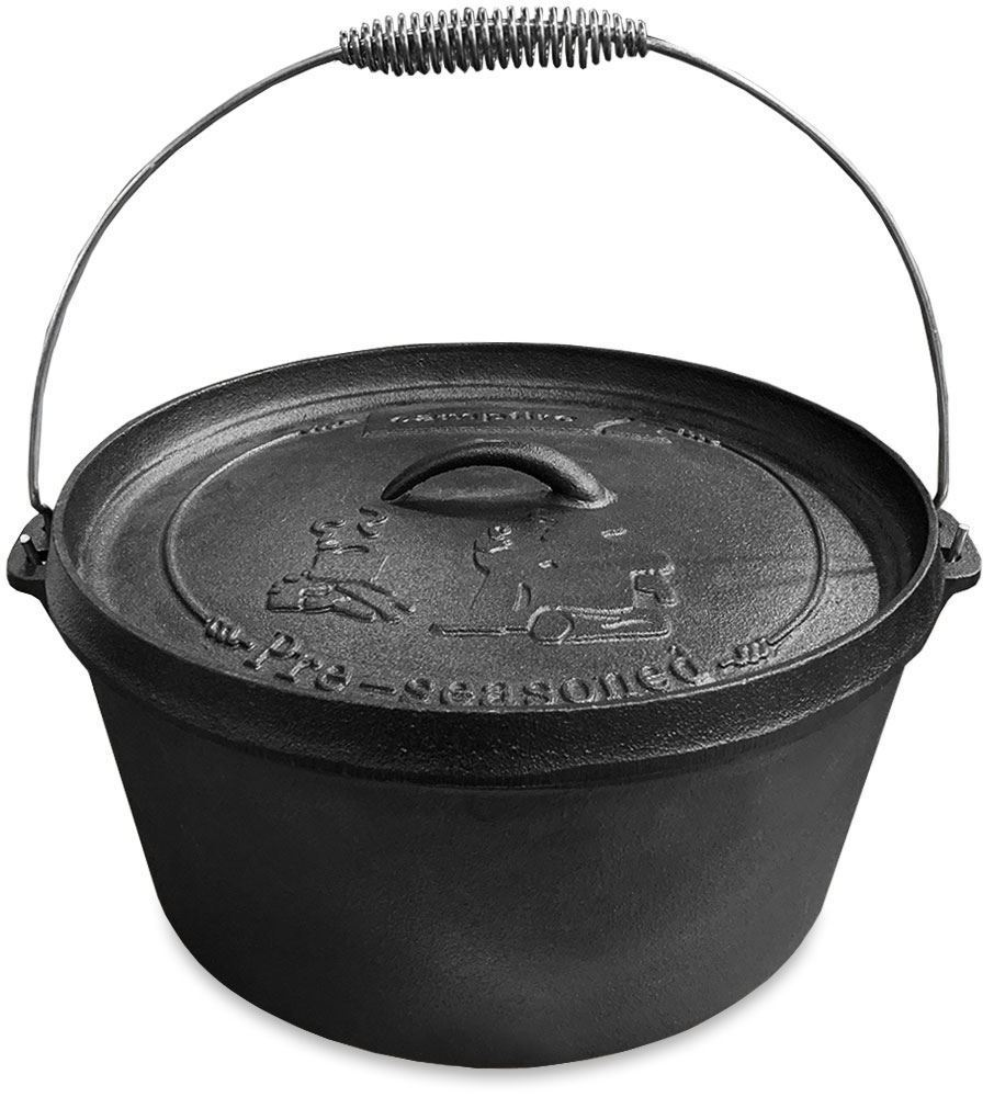 Campfire Cast Iron Camp Oven 9 Quart - Lid lifter up