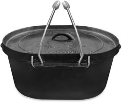 Campfire Cast Iron Camp Oven 10 Quart - lid handles up