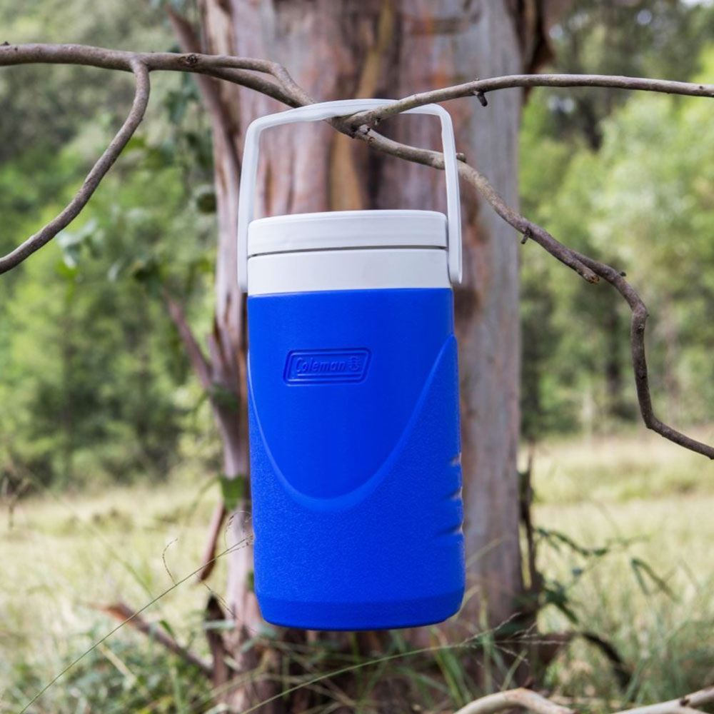 Coleman Cooler Jug 1.9L - Hanging on a branch outdoors