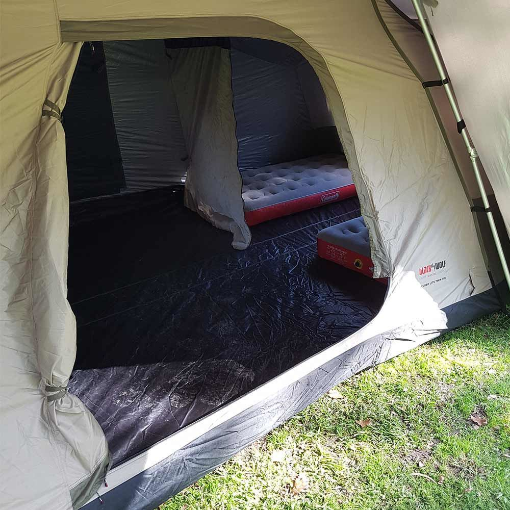 Black Wolf Turbo Lite Twin 300 Tent - With 2 Coleman Quickbed Airbed XL Single mats inside