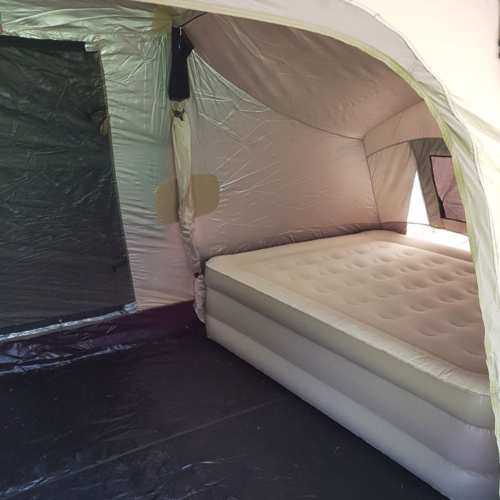 Black Wolf Turbo Lite Twin 300 Tent - With Coleman Queen Double-High Quickbed Airbed inside
