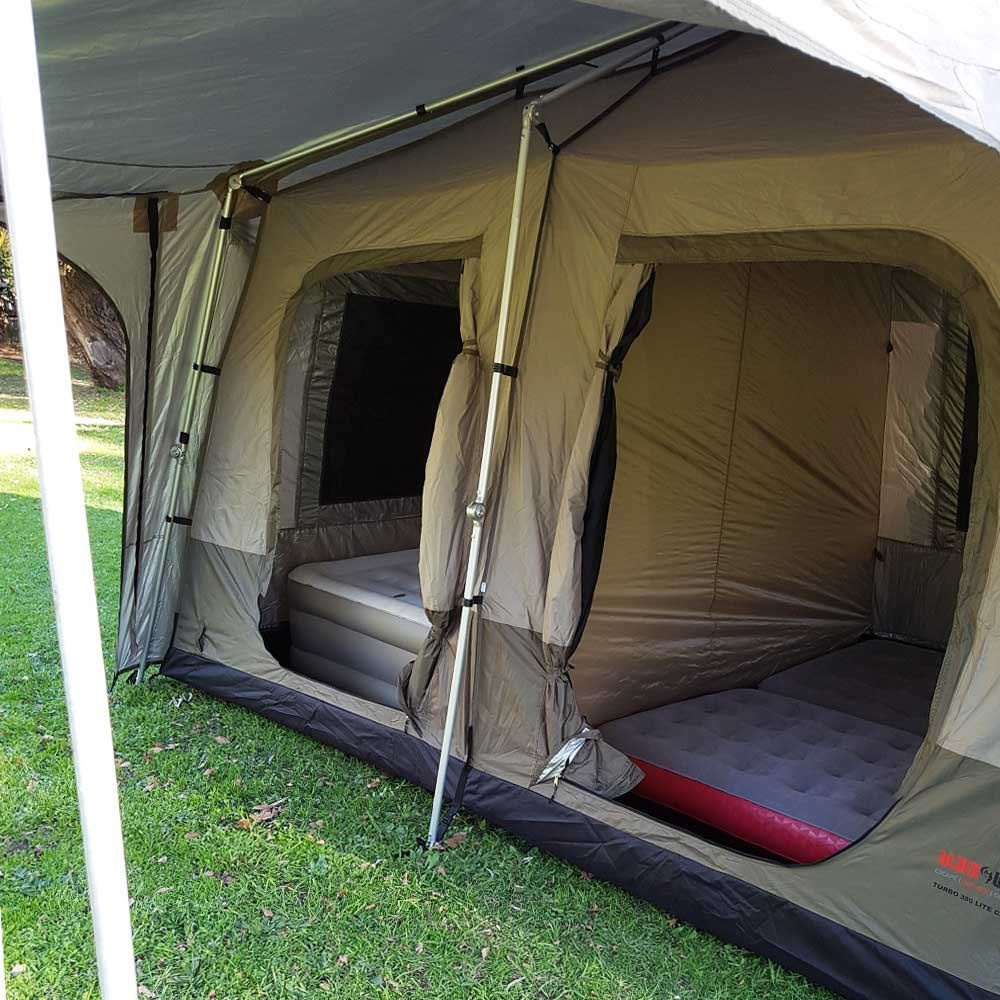 Black Wolf Turbo Lite Cabin 380 Quick Pitch Family Tent - WIth 2 Coleman Quickbed Airbed XL Single mats and Coleman Queen Double-High Quicbed Airbed inside