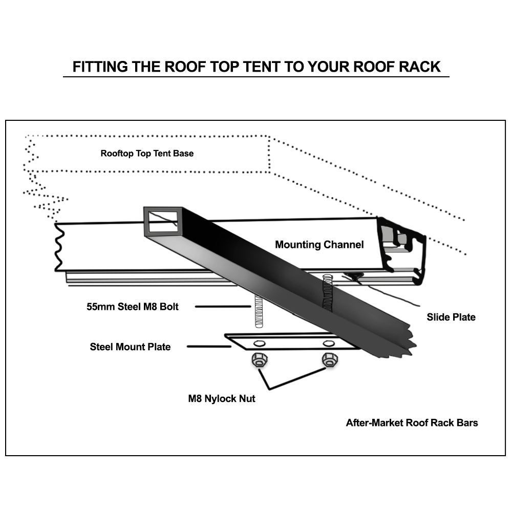 Darche Hi-View 1600 Rooftop Tent - Diagram demonstrating how to fit the roof top tent to the roof rack