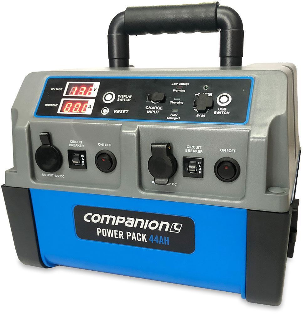 Companion Portable Power Pack 44Ah - Side view (power on)