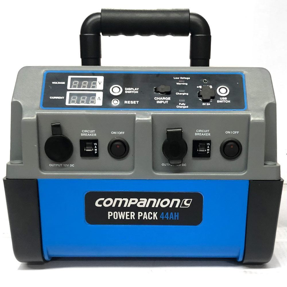 Companion Portable Power Pack 44Ah - Front view (power off)