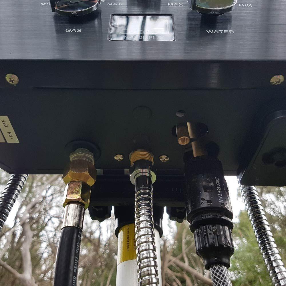 Smarttek Black Smart Hot Water System 4.3L/min Pump - Underneath unit showing hoses