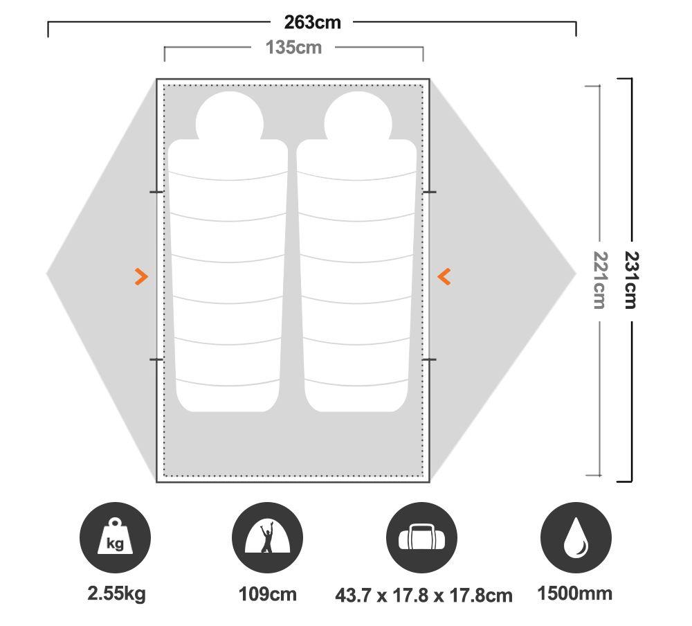 Limelight 2P Hiking Tent - Floorplan