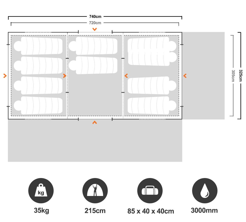 Galaxy Family Dome Tent - Floorplan