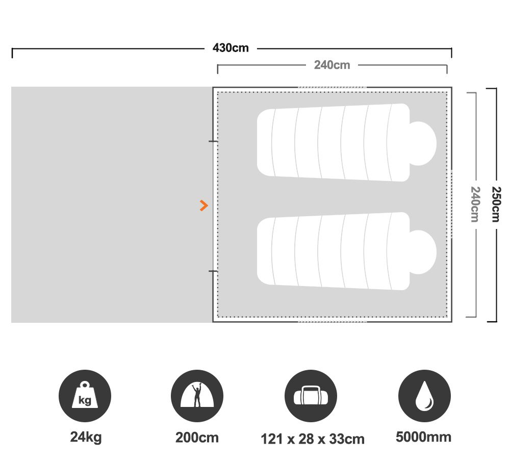 Turbo 240 Tent - Floorplan