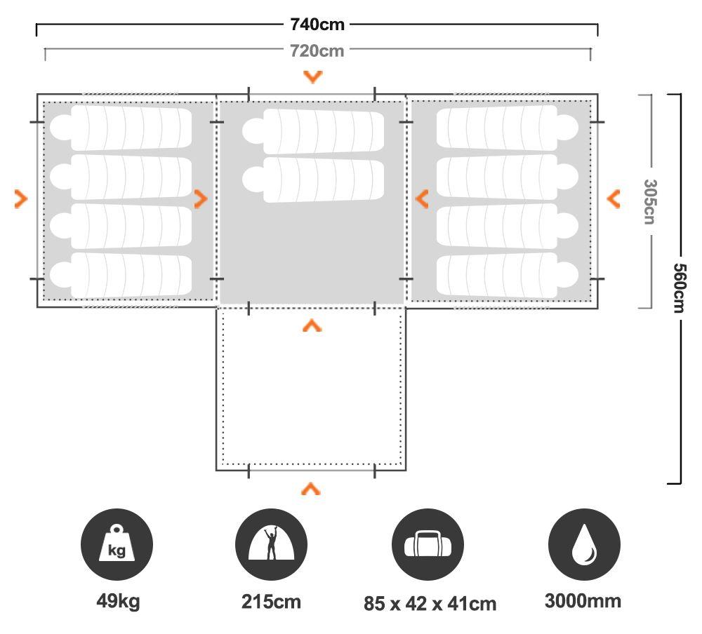 Galaxy Plus Family Dome Tent - Floorplan