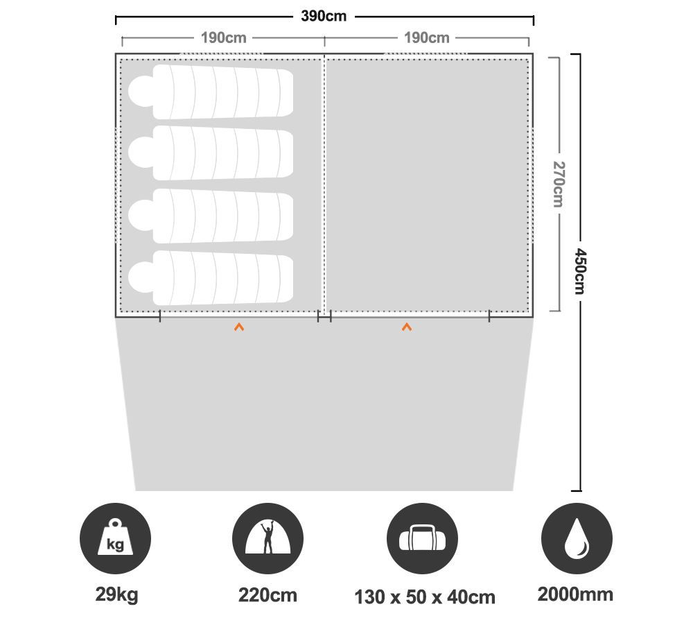 Turbo Lite Cabin 380 Tent - Floorplan
