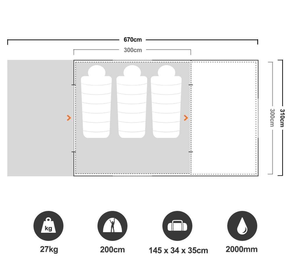 Turbo Lite Plus 300 Tent - Floorplan