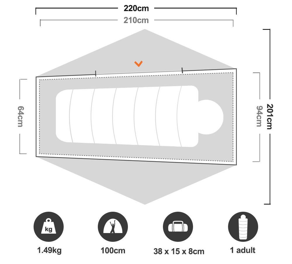 Space 1 Hiking Tent 3 Season - Floorplan
