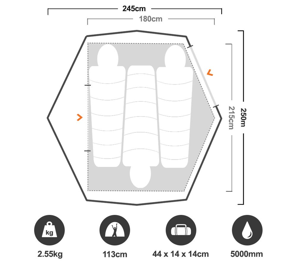 Zenith 300 3P Hiking Tent - Floorplan