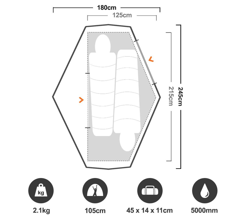 Zenith 200 2P Hiking Tent - Floorplan