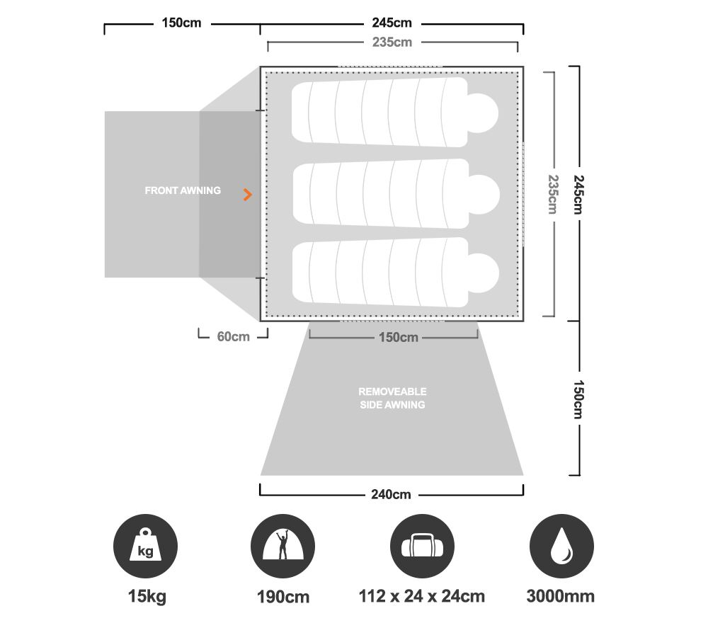 Instant Up Gold 4P Tent - Floorplan