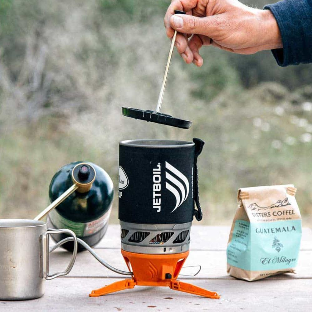 JetBoil Coffee Press - pressing coffee inside a JetBoil