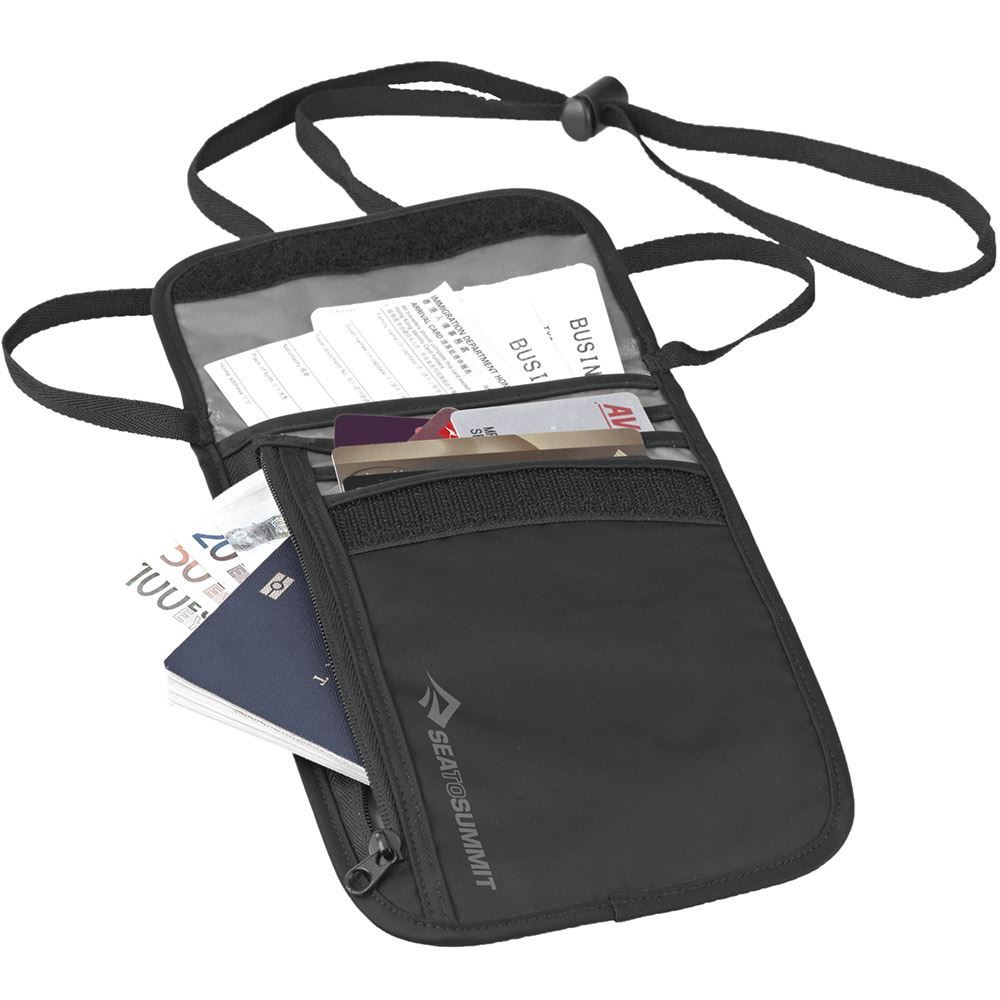 Sea to Summit Neck Wallet - open with passport and travel documents inside