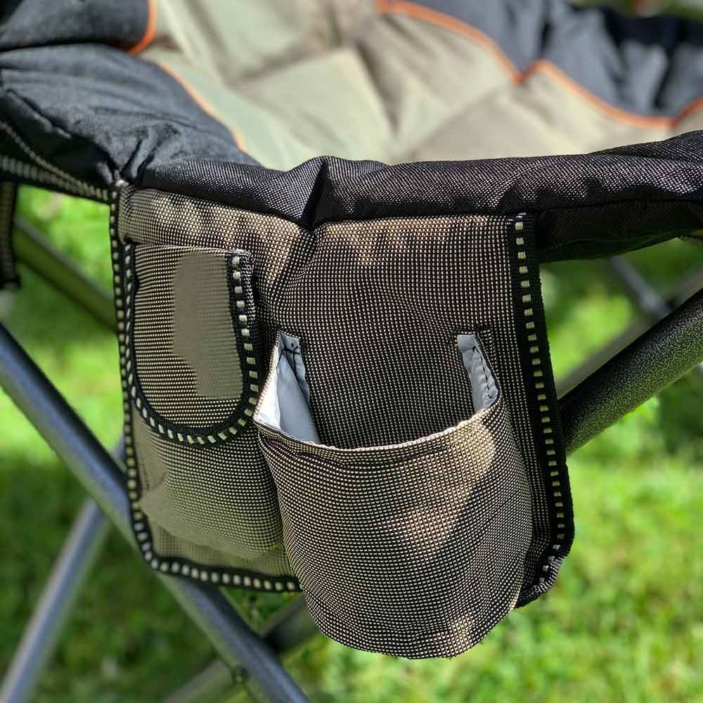 Oztent King Goanna Camp Chair - Close up of pocket and cup holder