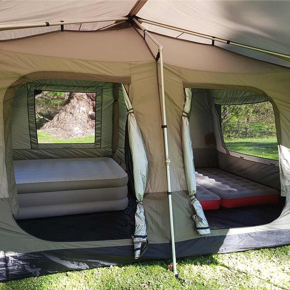 Black Wolf Turbo Lite Cabin 450 Quick Pitch Family Tent - Coleman double airbed and two twin airbeds inside