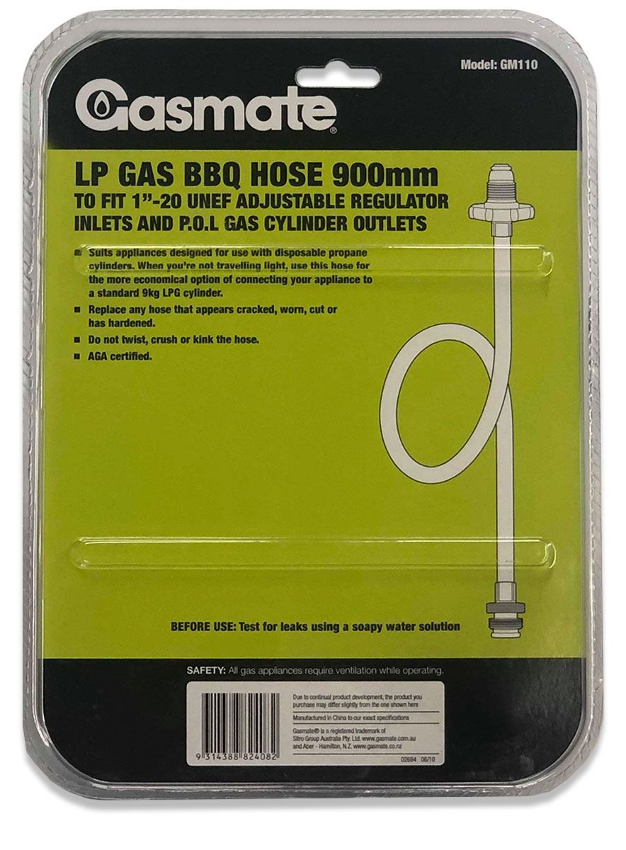 Picture of Gasmate UNEF/BOM to POL Low Pressure Gas Hose 900mm