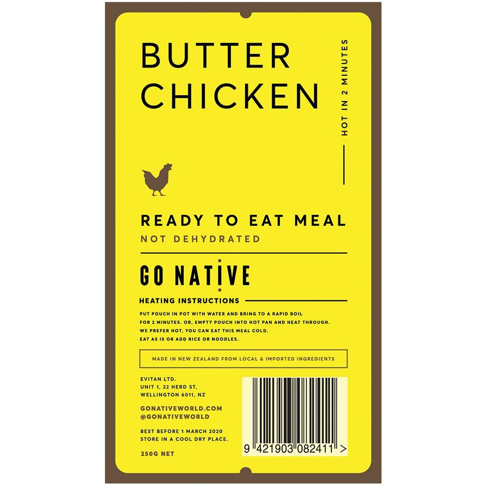 Go Native Butter Chicken Label
