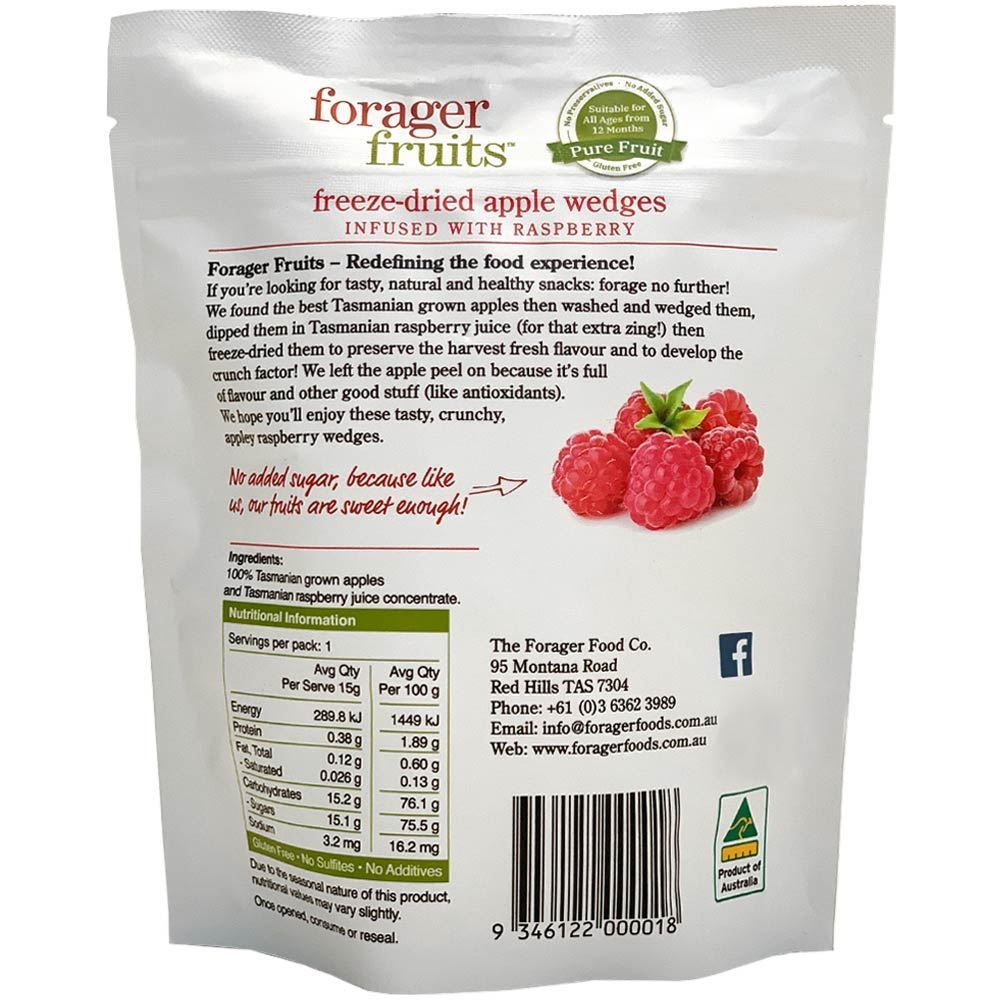 Forager Fruits Apple Wedges Raspberry Infused - Back of packaging