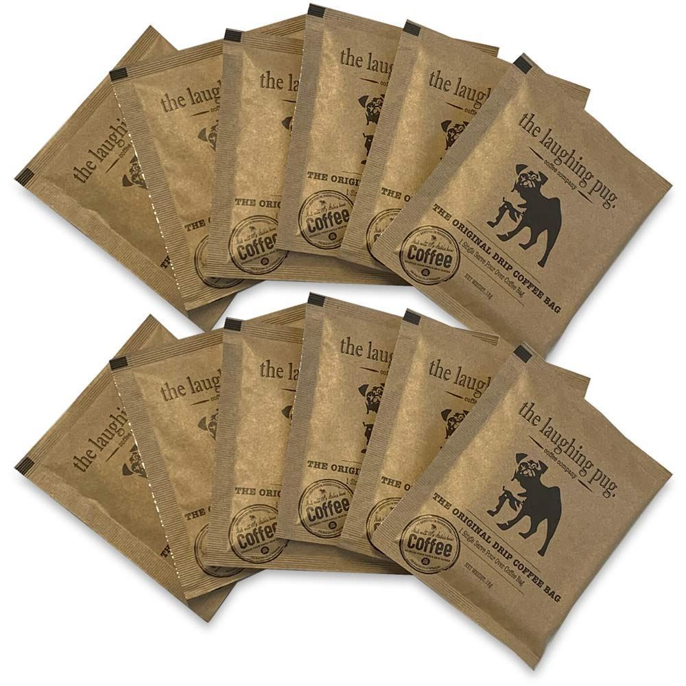 The Laughing Pug Drip Coffee Bag 10Pk PNG Gold